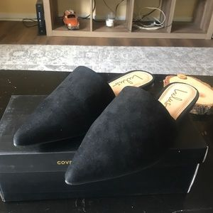 Lorena Black suede pointed toe slides (7.5)